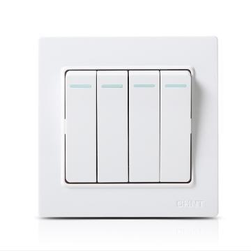 正泰 NEW7C系列四联双控开关10A,NEW7-C00800A 白色