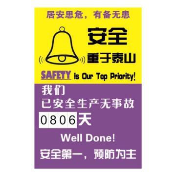 安全生产天数纪录牌(安全重于泰山)-数字转盘,600×900mm,30009