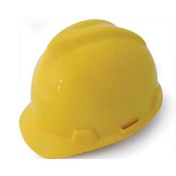MSA V-Gard ABS标准型安全帽,黄,超爱戴帽衬,灰针织布吸汗带,尼龙顶带,D型下颏带,10172880
