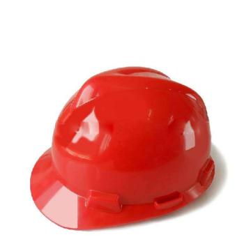 MSA V-Gard ABS标准型安全帽,红,超爱戴帽衬,灰针织布吸汗带,尼龙顶带,D型下颏带,10172892