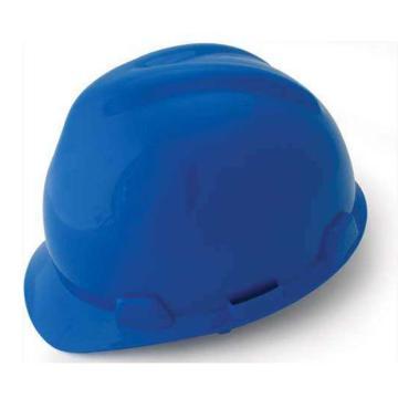 MSA V-Gard ABS标准型安全帽,蓝,超爱戴帽衬,灰针织布吸汗带,尼龙顶带,D型下颏带,10172893