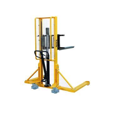 宽支撑腿手动液压堆高车,额定载荷(t):1,起升高度(mm):1600