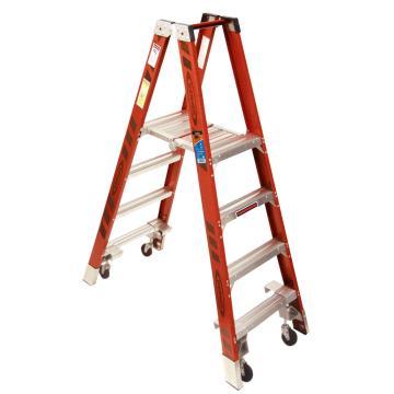 稳耐 双侧平台人字梯(带轮自锁),踏台数:4,额定载荷(KG):136,工作高度(米):1.2,PT7404-4C
