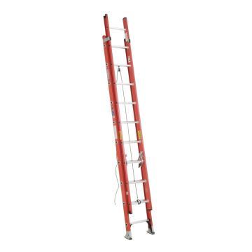 稳耐 D型踏棍绝缘2节延伸梯,踏台数:20,额定载荷(KG):136,工作高度(米):4.3,耐压(KV):35,D6220-2