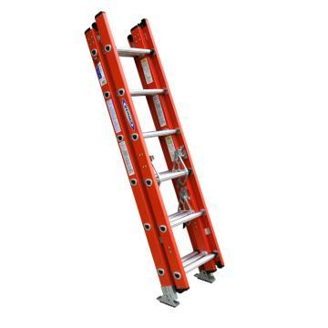 稳耐 D型踏棍绝缘3节延伸梯,踏台数:18,额定载荷(KG):136,工作高度(米):3.1,耐压(KV):35,D6216-3