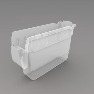 力王 货架物料盒,300*100*200mm,全新料,20个/箱,不含分隔片,SF3120-透明