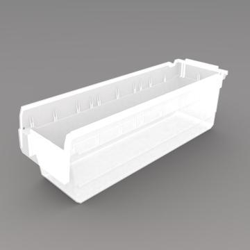 力王 货架物料盒,600*200*200mm,全新料,10个/箱,不含分隔片,SF6220-透明
