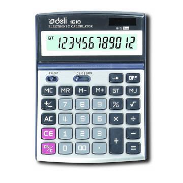 得力桌上型计算器,银色  1618