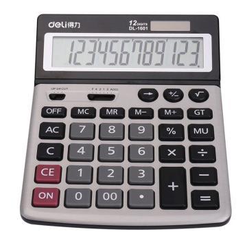 得力桌上型计算器,银色  1601