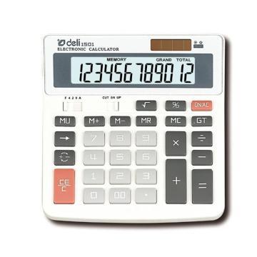 得力桌上型计算器,白色  1501