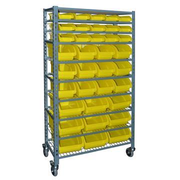可移动零件盒货架855*400*1710mm(含36个黄色零件盒/9层网片/顶板) (安装费另询)
