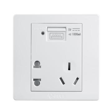 公牛 G06系列二三极+USB插座 10A/1000mA,G06E335