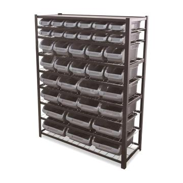 STORAGEMAID 黑色工业零件盒货架,1120*410*1450mm(含36个灰零件盒/8层镀锌网片/顶板) (安装费另询),BRS004