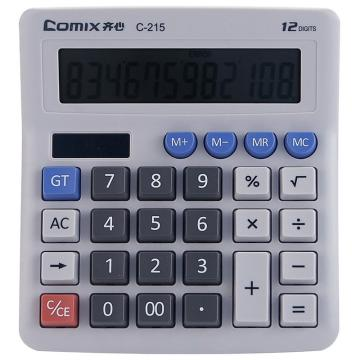 齐心 C-215 计算器 电脑按键普通12位 灰