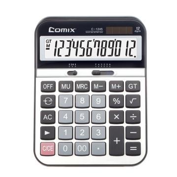 齐心 C-1245 计算器 大台 舒适按键型 黑