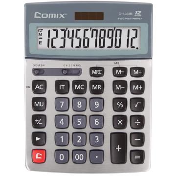 齐心 C-1223M 计算器 大台 科技银耐用金刚 银