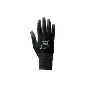 Ansell 48-101-8 涂层手套,PU掌部涂层手套,黑色,12副/打