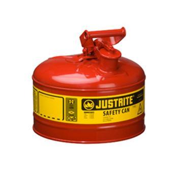 JUSTRITE/杰斯瑞特 Ⅰ型钢制安全罐-红色(悬摆扳柄),2.5加仑/9.5升,7125100Z