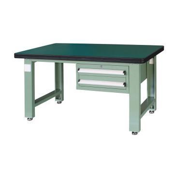 重型工作台, 1.5m (带2抽屉),绿色(RAL6011)
