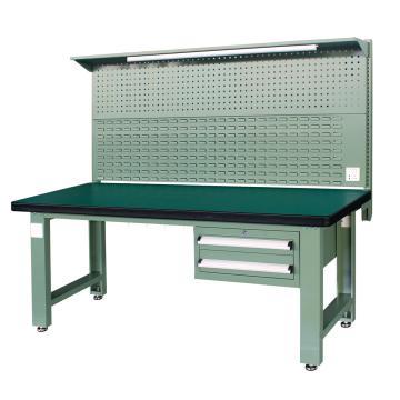 重型工作台, 1.8m (带2抽屉及后挂板),绿色(RAL6011)