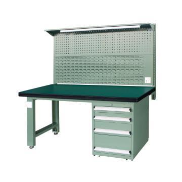 重型工作台, 1.8m (带4抽屉及后挂板),绿色(RAL6011)