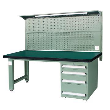 重型工作台, 2.1m (带4抽屉及后挂板),绿色(RAL6011)