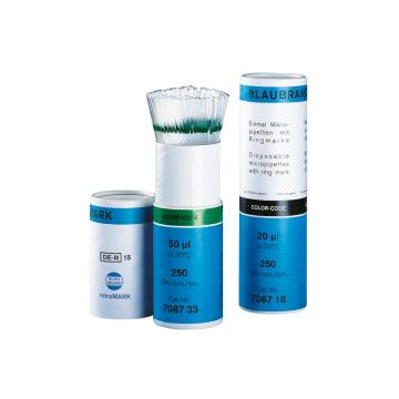 BRAND微量移液管,BLAUBRAND®,intraMark,50和100µl,蓝色,1000个/包