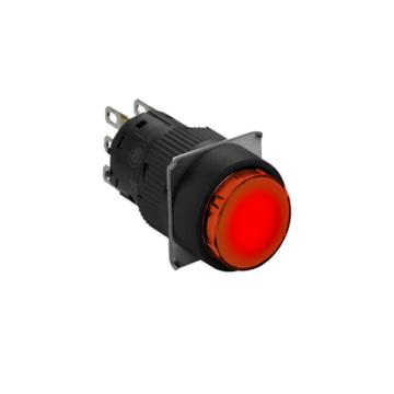 施耐德 自锁定带灯按钮,XB6EAF4B1F 圆形 红色 24V 1NO/NC
