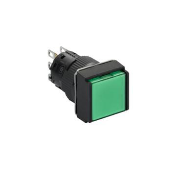 施耐德 自复位带灯按钮,XB6ECW3J2F 方形 绿色 12V 2NO/NC