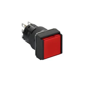 施耐德 自复位带灯按钮,XB6ECW4B2F 方形 红色 24V 2NO/NC