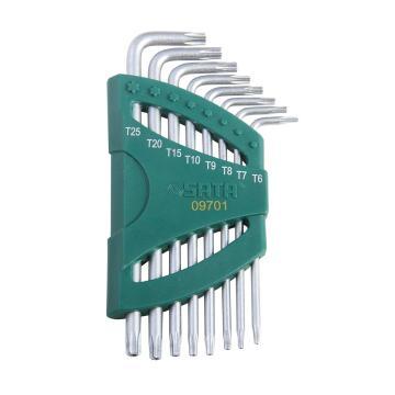 世达中孔花型扳手组套,8件长L形,09701