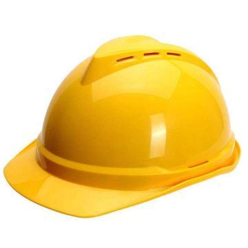 MSA 10172477 V-Gard ABS豪华型安全帽,黄(超爱戴),正面印国电logo(国电定制款)同系列30顶起订