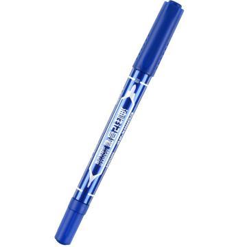 齐心记号笔, 小双头油性,蓝,10PCS/盒  MK804