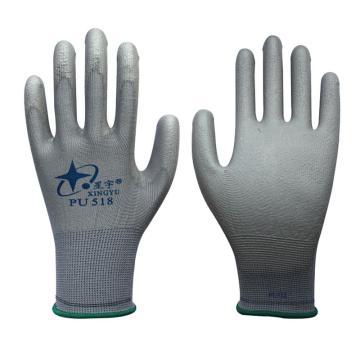 PU手套,PU灰手套,8号,PU518