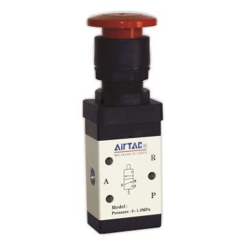 亚德客AirTAC M5PM二位五通蘑菇头按钮型机械阀,按钮黑色,M5PM110-06-B