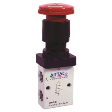 亚德客2位3通蘑菇头按钮型手动阀,S3PM-08 红色
