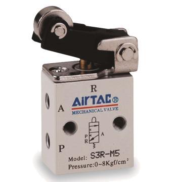 亚德客AirTAC 2位3通滚轮杠杆型机械阀,S3R-08