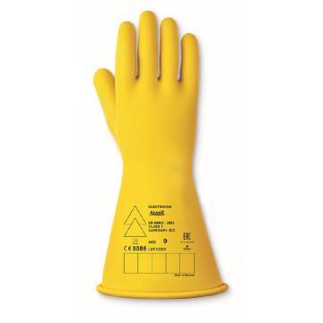 """Ansell乳胶绝缘手套51204 工作电压10KV 长28cm 黄色 卷边,9""""(嘉士伯专供)"""