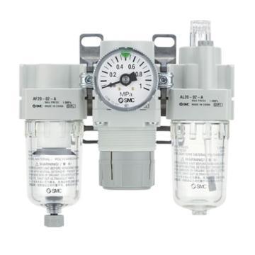 "SMC 三联件,接管Rc1/4"",自动排水,无压力表,AC30-02D-A"