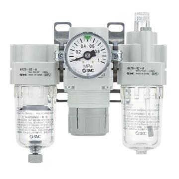 """SMC 三联件,接管Rc1/4"""",手动排水,有压力表,AC20-02G-A"""
