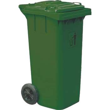 垃圾桶,两轮移动垃圾箱,100L,墨绿