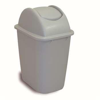 方形摇盖垃圾桶,27L,浅灰