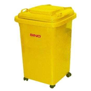 塑料垃圾桶,小型移动垃圾桶,50L(含盖60L),黄