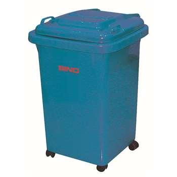 塑料垃圾桶,小型移动垃圾桶,50L(含盖60L),蓝