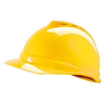 MSA V-Gard ABS豪华型安全帽,黄,超爱戴帽衬,灰针织布吸汗带,尼龙顶带,D型下颏带,10172477
