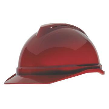 MSA V-Gard ABS豪华型安全帽,红,超爱戴帽衬,灰针织布吸汗带,尼龙顶带,D型下颏带,10172479
