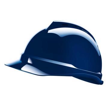 MSA V-Gard ABS豪华型安全帽,蓝,超爱戴帽衬,灰针织布吸汗带,尼龙顶带,D型下颏带,10172480