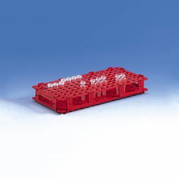 BRAND试管架,可放置128只最大直径为11mm的试管,红色,5个/包