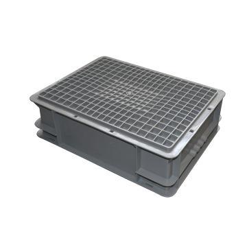(全新料)周转箱,可堆叠周转箱,(加强底) 600×400×340mm(灰)