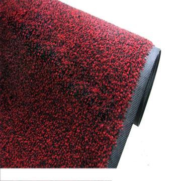 吸水控尘垫,耐用吸水控尘尼龙橡胶地垫, 钉底 红黑色 85cm*150cm*1cm